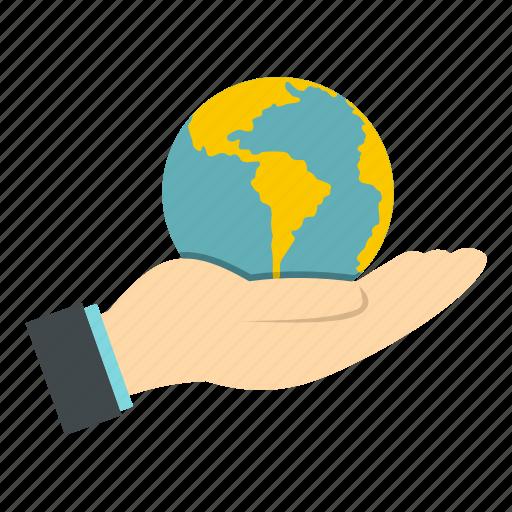 earth, global, globe, hand, map, planet, world icon