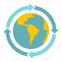 arrow, business, earth, global, globe, sphere, world icon