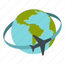 destination, earth, globe, map, plane, transportation, travel icon