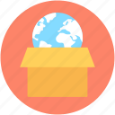 box, courier, global logistics, globe, parcel icon