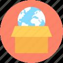 box, courier, global logistics, globe, parcel