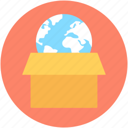 box, courier, global logistics, globe, parcel icon