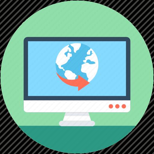 around the world, international, monitor, screen, worldwide icon
