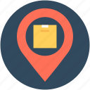 location pointer, map pin, parcel location, parcel tracking icon