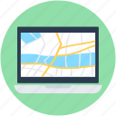 gps, laptop, location finder, online map, online navigation icon