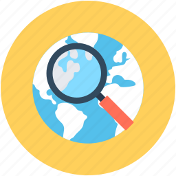 globe, internet search, magnifier, magnifying glass, search location icon
