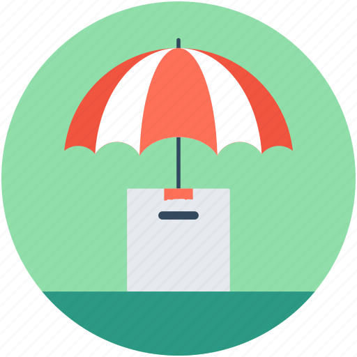 box, insured courier, package, parcel insurance, umbrella icon