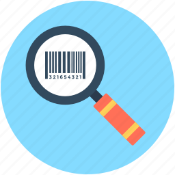 barcode, barcode reader, barcode scanner, magnifier, upc icon