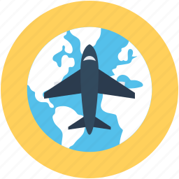 air delivery, air freight, air shipping, airplane, globe icon
