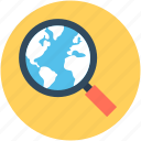 magnifier, globe, internet search, search location, magnifying glass