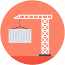 container, container crane, crane hook, lifting crane, shipping container icon