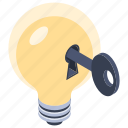 creative solution, innovative idea, key bulb, key of idea, key to success icon