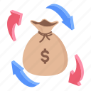 cash flow, money exchange, money flow, money sack, working capital icon