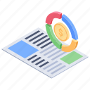 doughnut chart, financial planning, graphical report, pie report, stats report icon