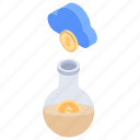 cloud computing, cloud money science, financial laboratory, money experiment, money research icon