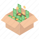 dollar cardboard, gift money, investment, money box, savings icon