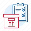 blue, box, check, delivery, distribution, list, red icon