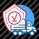 blue, delivered, destination, distribution, finish, red, truck icon