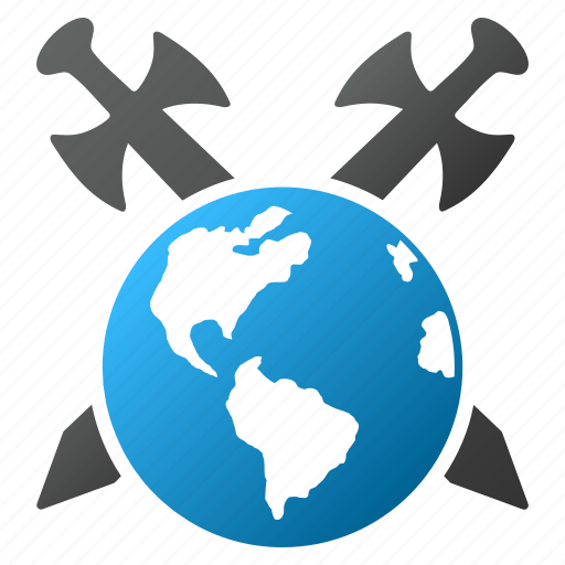 earth, globe, planet, protection, security, swords, world icon