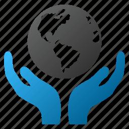 earth, global protection, globe, hand, insurance, international care, world icon