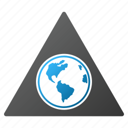 earth, global warning, globe, planet, terra, triangle, world icon