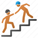 builder, business, construction, help, stairs, support, training icon