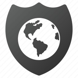 earth, global security, globe, internet, protection, shield, world icon
