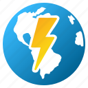 earth, electric, global power, globe, internet, shock, world electricity icon