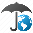 earth, globe, internet, protection, umbrella, weather, world icon