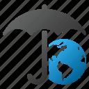 earth, globe, internet, protection, umbrella, weather, world