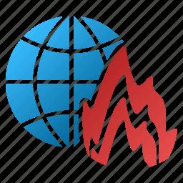 earth, flame, global fire, globe, internet, war, world icon