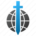 global guard, safety, sword, world, earth, security, military icon