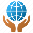 global safety, network, globe, internet, hands, world, care icon