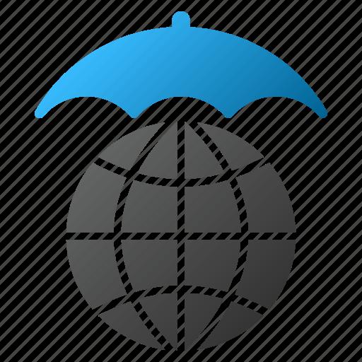 earth, global climate, globe, internet, protection, umbrella, world icon