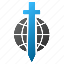 globe, planet, sword, military, world, weapon, global protection icon