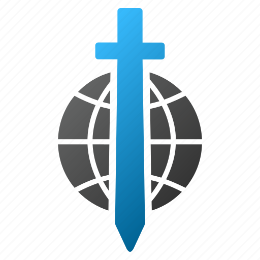 global protection, globe, military, planet, sword, weapon, world icon