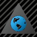 triangle, globe, terra, planet, earth, world, global warning icon
