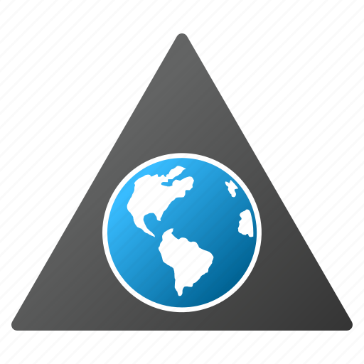 earth, global warning, globe, planet, terra, triangle, world icon
