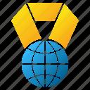 trophy, medal, globe, planet, internet, earth, world award icon