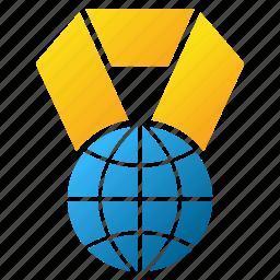 earth, globe, internet, medal, planet, trophy, world award icon