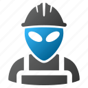 alien worker, engineer, futuristic, job, mechanic, serviceman, work icon
