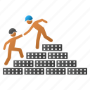 builder, business, construction, help, staircase, stairs, training icon