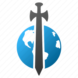 earth, global protection, globe, military, security, sword, world icon