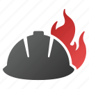 burn, danger, fire, fired helmet, flame, protection, safety icon