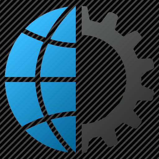 global industry, globe, internet, network, technology, web, world icon