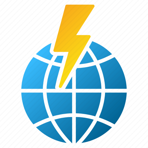earth, electric, global shock, globe, power, warning, world electricity icon