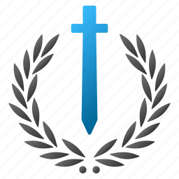 award, honor embleme, military, prize, stamp, sword, weapon icon