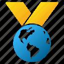 award, earth, global, globe, international, planet, world medal icon
