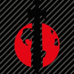 earth, global war, globe, planet, sword, weapon, world icon