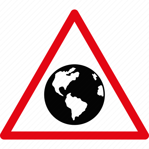 danger, earth, globe, planet, safety, terra prime, warning icon
